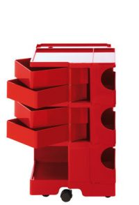 A storage unit Boby cm 73 - 4 drawers Red B-LINE Joe Colombo