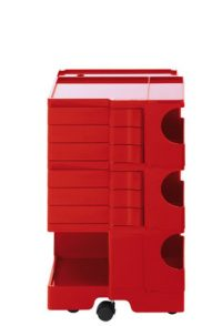 A storage unit Boby cm 73 - 6 drawers Red B-LINE Joe Colombo