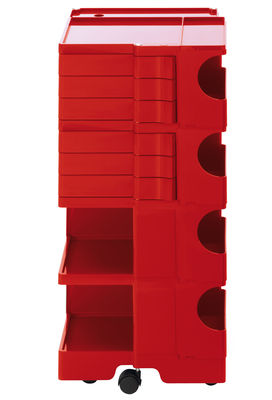A storage unit Boby cm 94 - 6 drawers Red B-LINE Joe Colombo