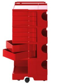 A storage unit Boby cm 94 - 8 drawers Red B-LINE Joe Colombo