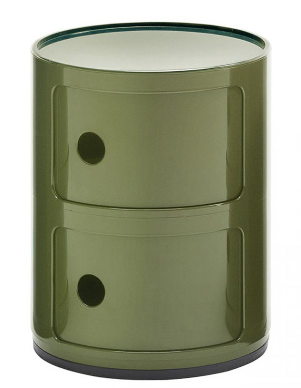 Componibili storage unit / 2 drawers Verde Kaki Kartell Anna Castelli Ferrieri 1