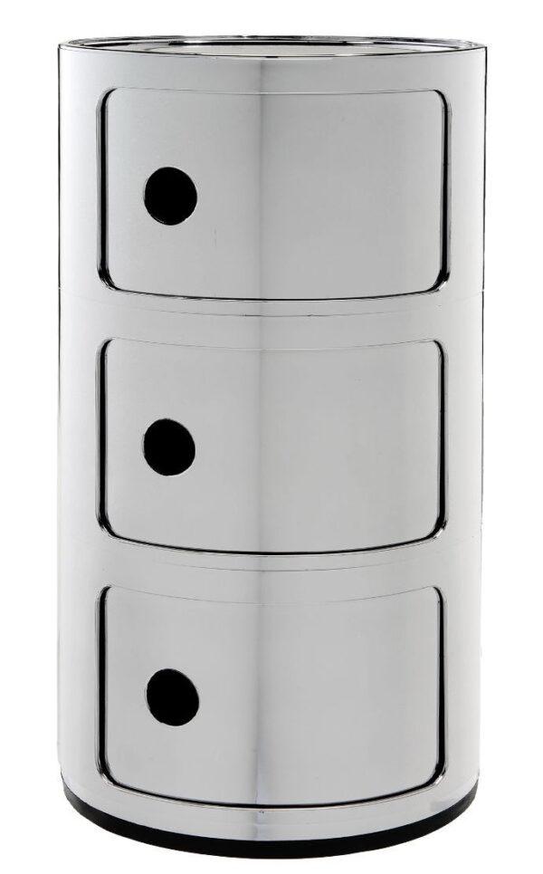 Modular storage unit / 3 drawers Chromed Kartell Anna Castelli Ferrieri 1