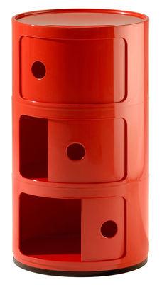 Componibili Lagereinheit / 3 Schubladen Rosso Kartell Anna Castelli Ferrieri 1