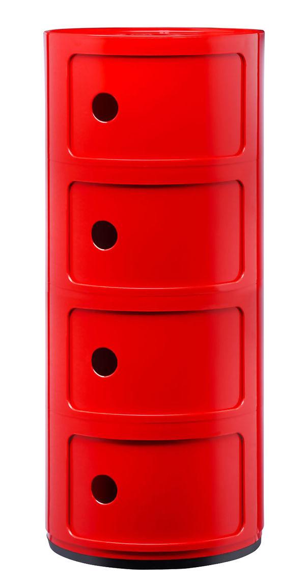 Componibili Lagereinheit / 4 Schubladen Rosso Kartell Anna Castelli Ferrieri 1