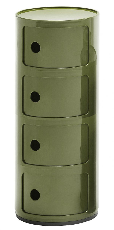 Aparelho de armazenamento de componentes / gavetas 4 Verde Kaki Kartell Anna Castelli Ferrieri 1