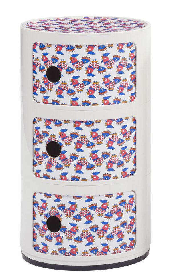 Μονάδα αποθήκευσης Componibili La Double J - 3 συρτάρια - H 58 cm Λευκό | Galletti Kartell Anna Castelli Ferrieri 1