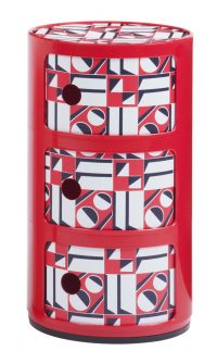 Componibili storage unit La Double J - / 3 drawers - H 58 cm Red | Geometric red Kartell Anna Castelli Ferrieri 1