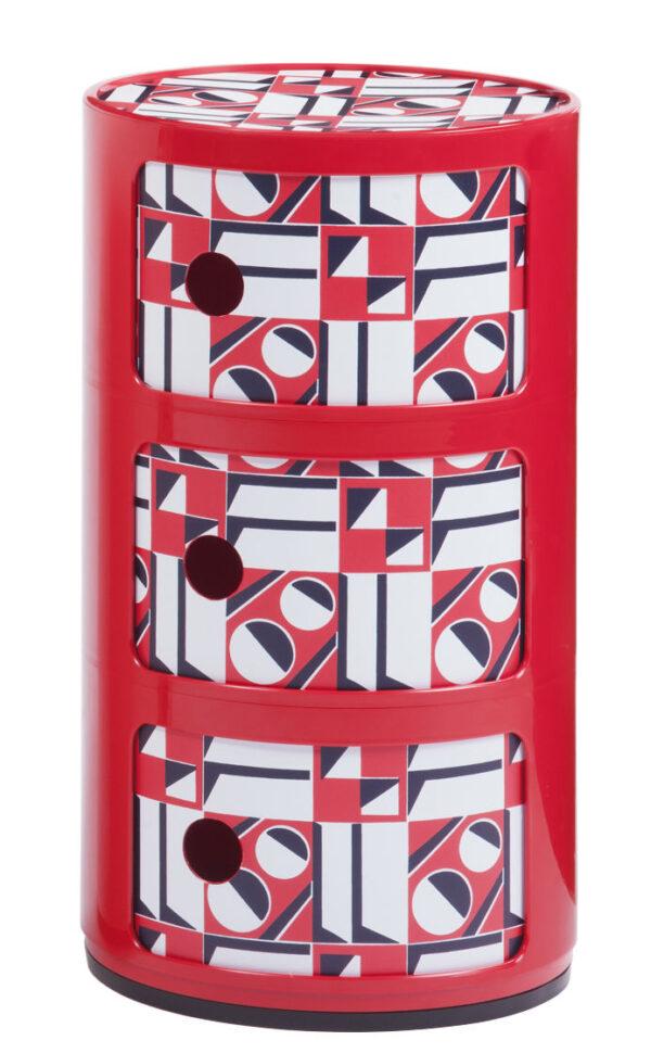 Componibili Aufbewahrungseinheit La Double J - / 3 Schubladen - H 58 cm Rot | Geometrisches Rot Kartell Anna Castelli Ferrieri 1