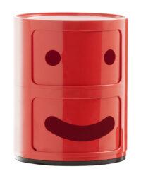 Mobile contenitore Componibili Smile N°1 / 2 cassetti Rosso Kartell Anna Castelli Ferrieri|Fabio Novembre 1