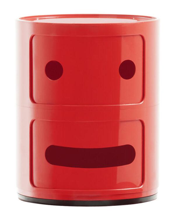 Mobile contenitore Componibili Smile N°2 / 2 cassetti Rosso Kartell Anna Castelli Ferrieri|Fabio Novembre 1