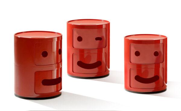 Mobile contenitore Componibili Smile N°3 / 2 cassetti Rosso Kartell Anna Castelli Ferrieri Fabio Novembre 2
