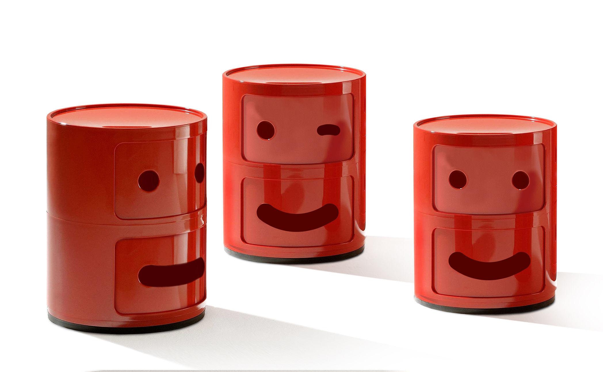 Smile Μονάδα αποθήκευσης Componibili Αρ. 3 / 2 συρτάρια Red Kartell Anna Castelli Ferrieri | Fabio Novembre 2