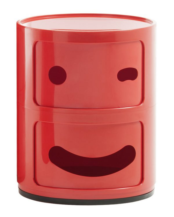 Mobile contenitore Componibili Smile N°3 / 2 cassetti Rosso Kartell Anna Castelli Ferrieri Fabio Novembre 1