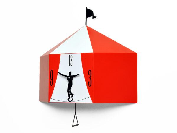 Relógio de parede vermelho circense Progetti Barbero Design 1
