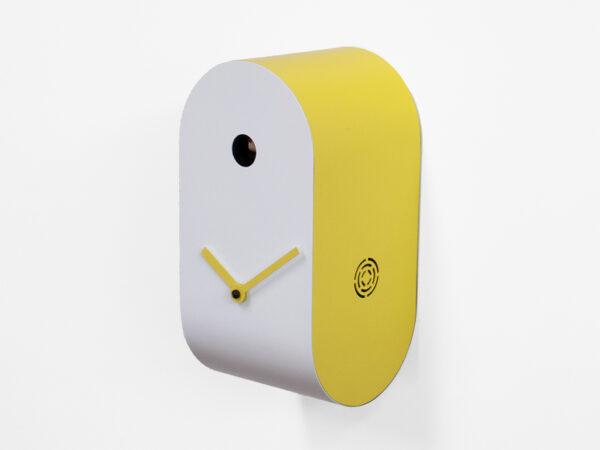 Orologio da parete Cucupola Bianco|Giallo Progetti Mattia Cimadoro 1