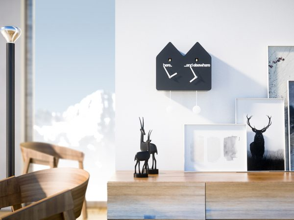 Reloj de pared Double Q negro Progetti Alberto Sala 3