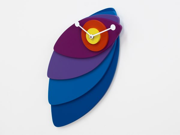 Wall Clock Blue Petals | Multicolored Progetti Giulia Pretti 2