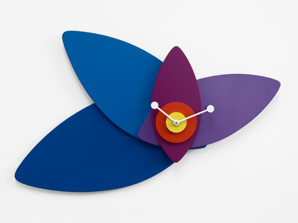 Wall Clock Blue Petals | Multicolored Progetti Giulia Pretti 3