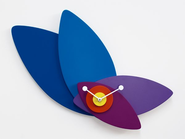 Wall Clock Blue Petals | Multicolored Progetti Giulia Pretti 1