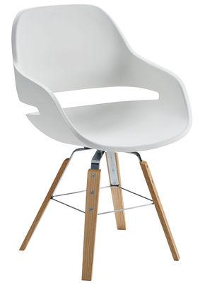 椅子エヴァ/ 4木製の脚ホワイト|天然木のZanottaオラ伊藤1