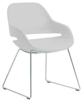 pie deslizante sillón blanco Eva | Chrome Zanotta Ora Ito 1