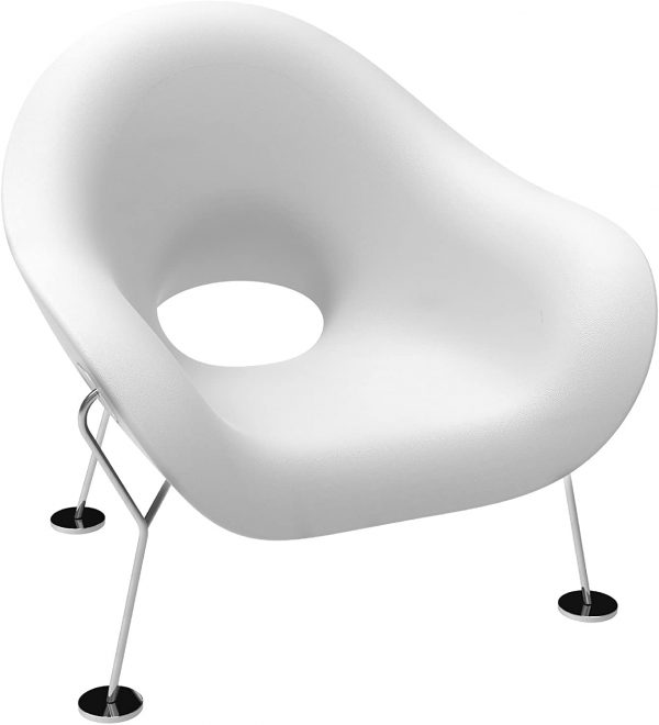 Λευκό πολυθρόνα Pupa | Chromed Qeeboo Andrea Branzi 2