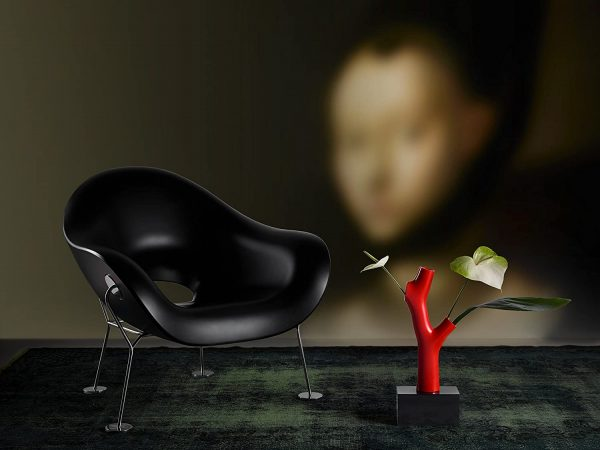 Pupa Black Armchair | Chromed Qeeboo Andrea Branzi 3