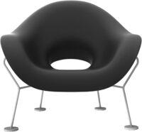 Pupa Black Armchair | Chromed Qeeboo Andrea Branzi 1