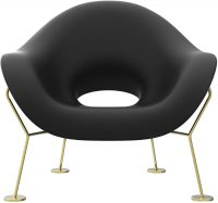 Pupa Black Armchair | Qeeboo Messing Andrea Branzi 1