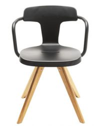 Armchair T14 / natural wood Legs Black Tolix Patrick Norguet 1