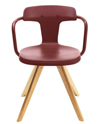 Armchair T14 / natural wood Legs Red ocher Tolix Patrick Norguet 1