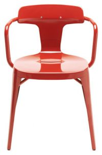 Armchair T14 / Inox - For the outside Red Tolix Patrick Norguet 1