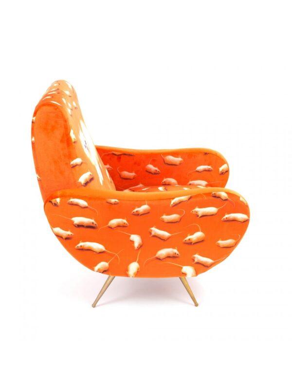 Toiletpaper Armchair - Multicolor Cat | Orange Seletti Maurizio Cattelan | Pierpaolo Ferrari
