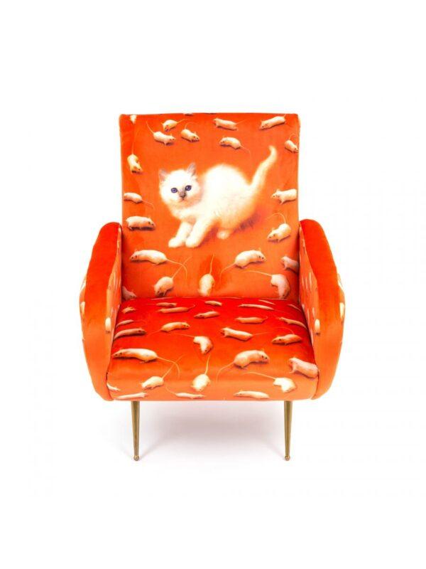 トイレットペーパーアームチェア - 多色猫|オレンジSeletti Maurizio Cattelan | Pierpaolo Ferrari
