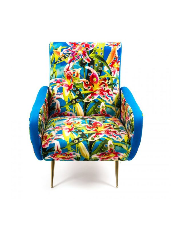Toiletpaper Armchair - Flower with holes Multicolor | Gold | Seletti Turquoise Maurizio Cattelan | Pierpaolo Ferrari