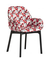 Padded armchair Clap La Double J Black | Geometric red Kartell Patricia Urquiola 1