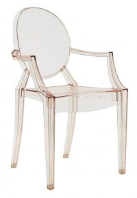 Louis Ghost stackable armchair Transparent orange Kartell Philippe Starck 1