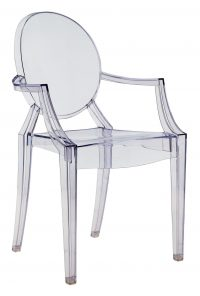 Louis Ghost stackable armchair Light blue transparent Kartell Philippe Starck 1
