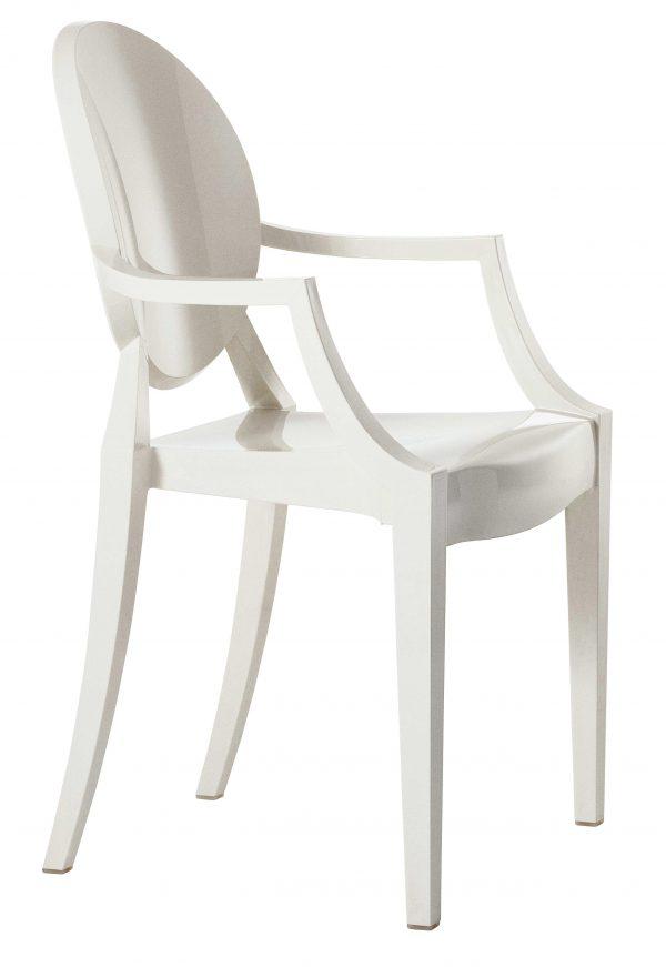 Poltrona empilhável Louis Ghost Matt branco Kartell Philippe Starck 1