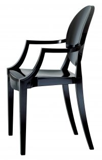 Poltrona impilabile Louis Ghost Nero opaco Kartell Philippe Starck 1