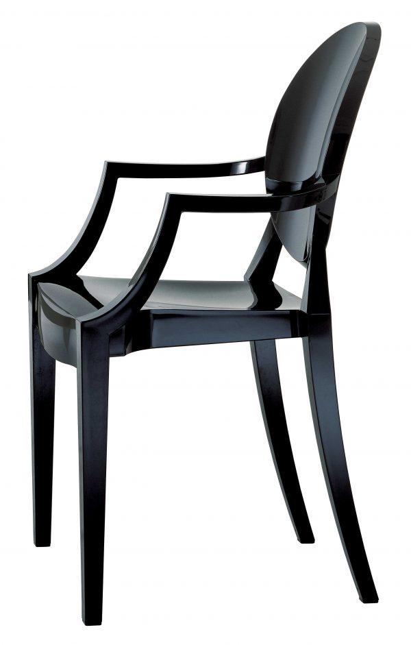 Stapelbarer Sessel Louis Ghost Matt schwarz Kartell Philippe Starck 1