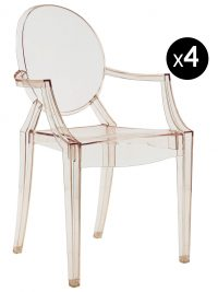 Louis Ghost stackable armchair - Set of 4 transparent orange Kartell Philippe Starck 1