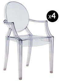 Louis Ghost stackable armchair - Set of 4 transparent blue Kartell Philippe Starck 1