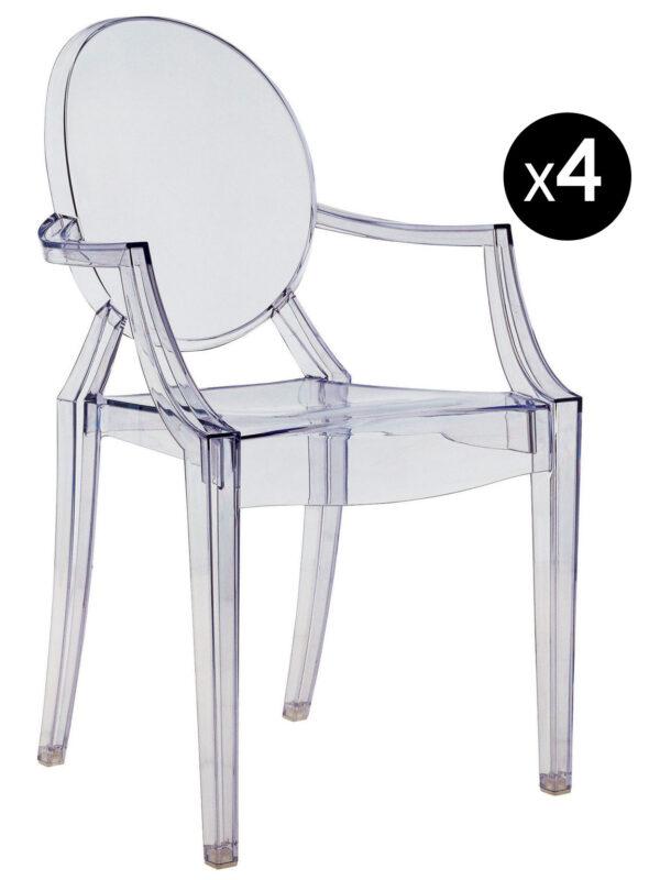 Poltrona impilabile Louis Ghost - Set di 4 Azzurro trasparente Kartell Philippe Starck 1