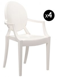Poltrona impilabile Louis Ghost - Set di 4 Bianco opaco Kartell Philippe Starck 1