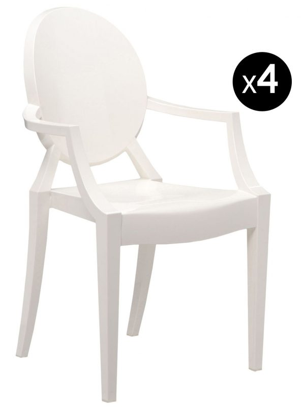 Louis Ghost stackable armchair - Set of 4 matt white Kartell Philippe Starck 1