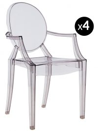 Louis Ghost stackable armchair - Set of 4 Fumé Kartell Philippe Starck 1