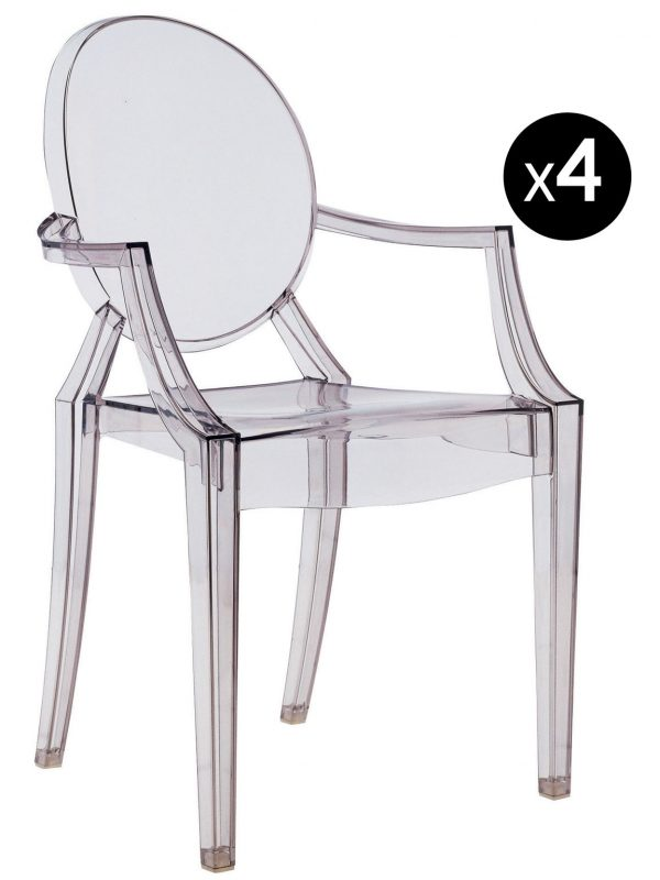 Stapelbarer Sessel Louis Ghost - 4er-Set Fumé Kartell Philippe Starck 1