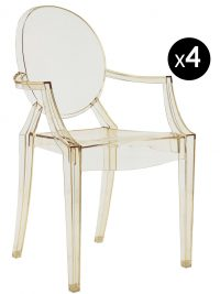 Louis Ghost stackable armchair - Set of 4 transparent yellow Kartell Philippe Starck 1