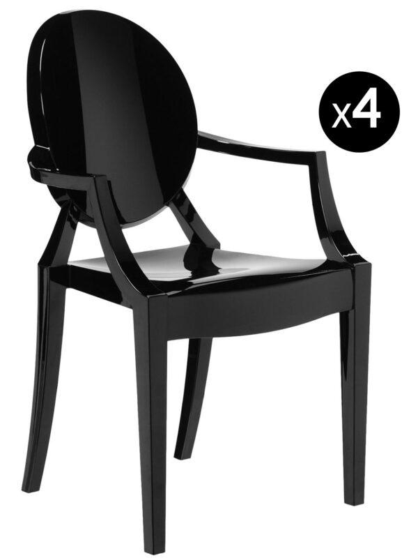 Sillón apilable Louis Ghost - Juego de 4 Kartell Philippe Starck negro mate 1